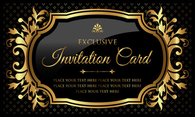 Invitation card - luxury black and gold design in vintage style