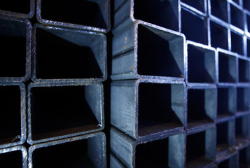 Steel profile pipes are pictured at the Ariel Metal steel trader warehouse in Podolsk