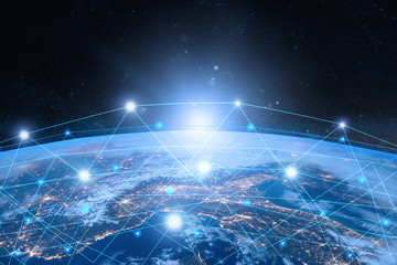 Earth from Space. Internet Concept of global business. Network and data exchange over planet earth.  Symbol of internet, technology and communication. Elements of this image furnished by NASA.