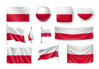 Set Poland flags, banners, banners, symbols, flat icon. Vector illustration of collection of national symbols on various objects and state signs