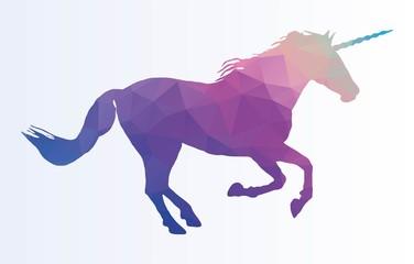 Polygonal Unicorn Horse Silhouette