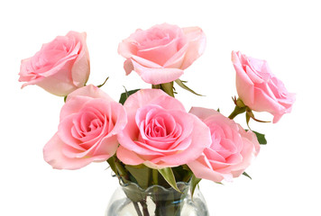 Bunch of pink roses in vase isolated on white