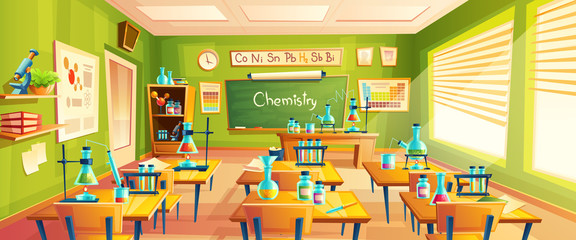 Vector cartoon background with chemistry classroom, interior inside. Education concept illustration, training room with blackboard, desks, periodic table, vials and flasks for chemical experiments