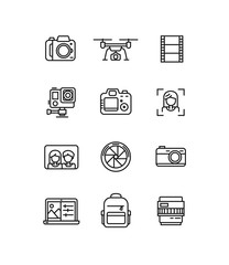 Line video and photo production camera icon.