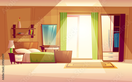 Vector cartoon illustration of a cozy modern bedroom living room