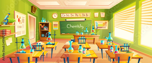 List Of Classroom Furnitures ~ Quot vector cartoon background with chemistry classroom