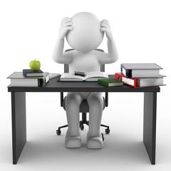 3d Männchen lernen Anstrengung und Stress