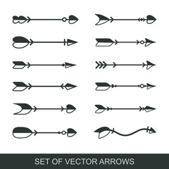 Set of black hand drawn arrows for bow. Hipster ethnic vector elements. arrow cupid with a heart. Illustrations for Web Design