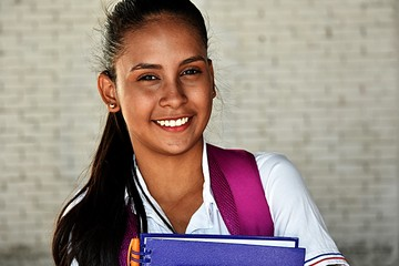 Smiling Colombian Girl Student