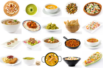 Food around the world collage isolated on white background