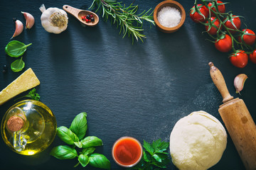 Top view of ingredients for cooking pizza or pasta Wall mural
