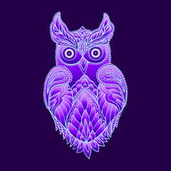 Wall Murals Owls cartoon Fantasy mystical purple owl