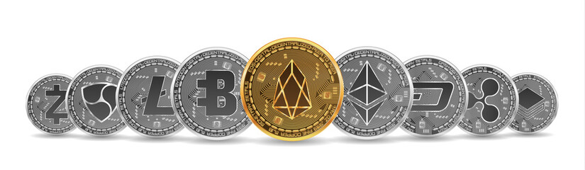 Set of gold and silver crypto currencies with golden eos in front of other crypto currencies as leader isolated on white background. Vector illustration. Use for logos, print products