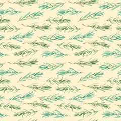Watercolor Rosemary pattern seamless, green rosemary decoration, 