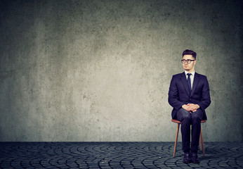 Young man waiting for interview
