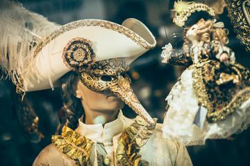 Colorful carnival mask in shop in Venice