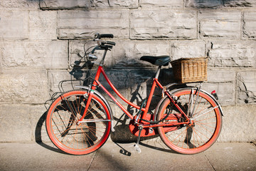 Red bicycle on street