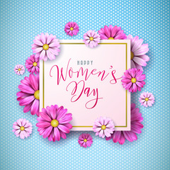 Happy Womens Day Floral Greeting Card Design. International Female Holiday Illustration with Flower and Typography Letter Design on Pink Background. Vector International 8 March Template.
