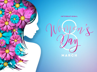 Happy Womens Day Floral Greeting Card Design. International Female Holiday Illustration with Women Silhouette, Flower and Typography Letter Design on Blue Background. Vector International 8 March