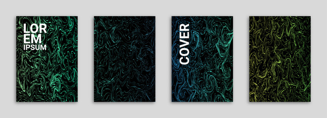 Abstract Background Cover/Flyer/Poster/Album Template Bundle - Chaotic Colorful Twirl Shapes Minimal Lines