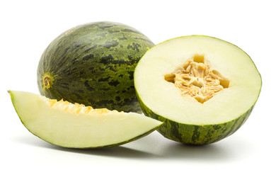 Melon Piel de Sapo set (Santa Claus Christmas variety) isolated on white background green striped outer rind one whole section half one slice.