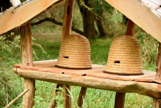 Traditionelle Bienenkörbe an der Saale