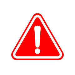WARNING ICON. White exclamation point (mark) on red triangle sign. Vector.