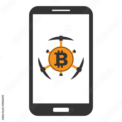 Smartphone With Bitcoin Gold Symbol And Pickaxes On Screen Concept