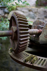 Vintage worm gear water mill gateway