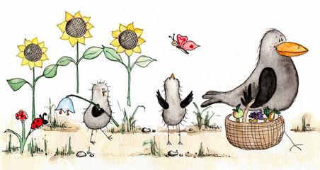 Zeichnung für Kinder, Picknick, Rabenfamilie