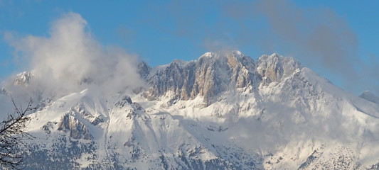 Wonderful panorama from Monte Pora to Presolana after a snowfall. Orobie Prealps, Bergamo, Lombardy, Italy