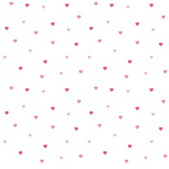 Seamless polka dot pink hearts pattern