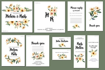 Card templates set with watercolor pink wildflowers and green leaves background; artistic design for business, wedding, anniversary invitation, flyers, brochures, table number, RSVP, Thank you card