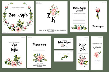 Card templates set with watercolor pink peonies and green branches background; artistic design for business, wedding, anniversary invitation, flyers, brochures, table number, RSVP, Thank you card