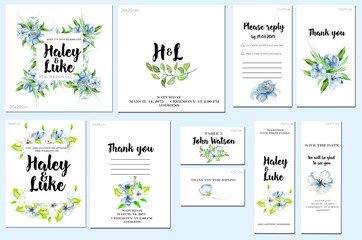 Card templates set with watercolor blue wildflowers and green leaves background; artistic design for business, wedding, anniversary invitation, flyers, brochures, table number, RSVP, Thank you card