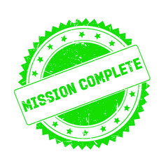Mission Complete green grunge stamp isolated