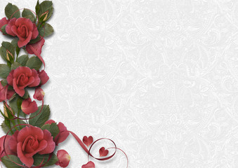 White vintage background with a border of beautiful roses. greeting card