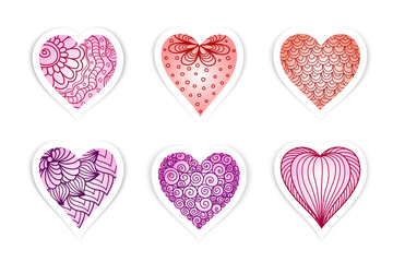 Set of  drawn  hearts  with flowers and plants for Valentine's Day, weddings, Mother's Day
