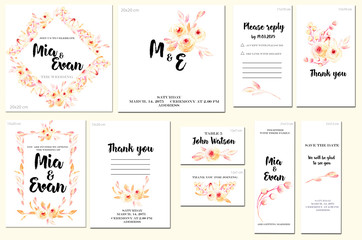 Card templates set with watercolor pink roses and leaves background; artistic design for business, wedding, anniversary invitation, flyers, brochures, table number, RSVP, Thank you card