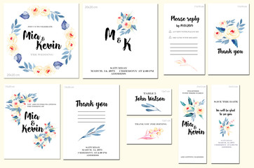 Card templates set with watercolor pink roses and blue leaves background; artistic design for business, wedding, anniversary invitation, flyers, brochures, table number, RSVP, Thank you card