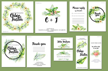 Card templates set with summer tropical watercolor flowers and plants background; artistic design for business, wedding, anniversary invitation, flyers, brochures, table number, RSVP, Thank you card