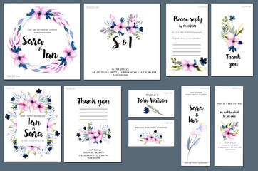 Card templates set with spring pink watercolor wildflowers background; artistic design for business, wedding, anniversary invitation, flyers, brochures, table number, RSVP, Thank you card
