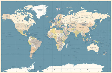 Political Colored Dark World Map Vector