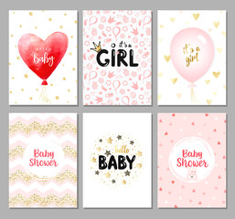 Vector set of 6 color baby shower cards for girls. It's a girl card. Hello baby card. Vector invitation with cute pattern, balloon, gift. Baby arrival and shower collection.