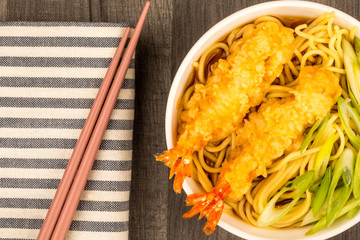 Japanese Style Tiger Prawn Tempura Noodle Soup With Spring Onions