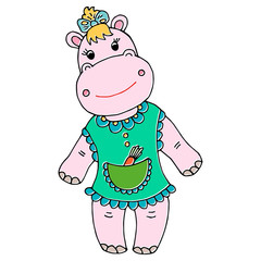 Cute baby hippo girl cartoon hand drawn illustration. Can be used for baby t-shirt print, fashion print design, kids wear, baby shower celebration greeting and invitation card.