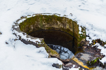 source of river under a snow