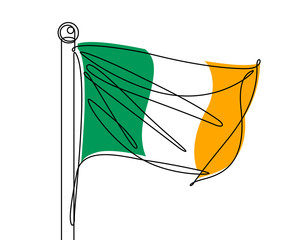 Irish Flag Continuous line Vector