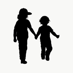 Black silhouette of two children walking together