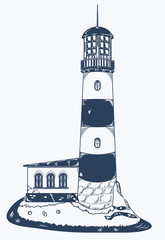 vector sketch of a lighthouse with the extension on the stony shore